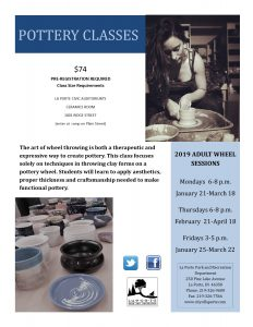 Pottery Class - Adult Wheel on Mondays @ LaPorte Civic Auditorium | La Porte | Indiana | United States