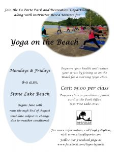 Yoga on the Beach @ Stone Lake Beach in Soldiers Memorial Park  | La Porte | Indiana | United States