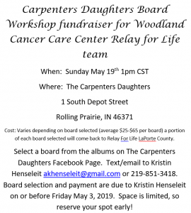 Carpenters Daughters Board Workshop fundraiser @ The Carpenters Daughters | Rolling Prairie | Indiana | United States