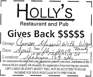 Holly's Giveback with Cancer Messed with the Wrong Family @ Holly's Restaurant and Pub | Michigan City | Indiana | United States