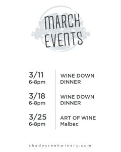 Shady Creek Winery March Events